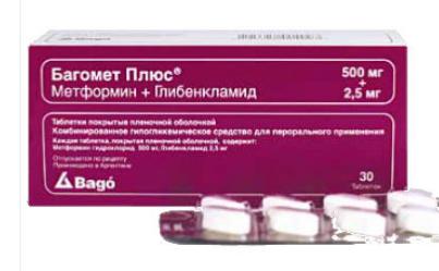 БАГОМЕТ ПЛЮС (Глибенкламид+Метформин)