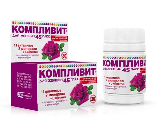 КОМПЛИВИТ ДЛЯ ЖЕНЩИН 45+ (Поливитамины+Прочие препараты)