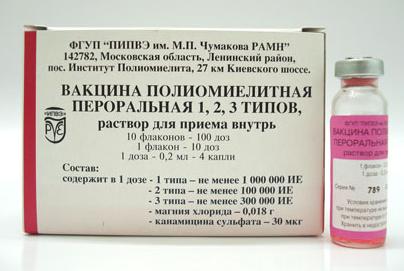 ВАКЦИНА ПОЛИОМИЕЛИТНАЯ ПЕРОРАЛЬНАЯ 1, 2, 3 ТИПОВ (Вакцина для профилактики полиомиелита)
